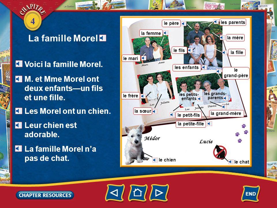 4 Médor Lucie la fille le mari la femme le père la mère les enfants le frère la sœur le petit-fils la petite-fille le fils la grand-mère le grand-père les parents La famille Morel Voici la famille Morel.