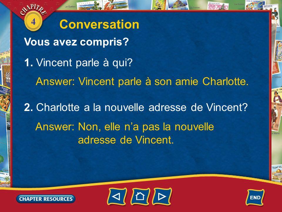 4 Conversation Vincent: Tu as ma nouvelle adresse? Charlotte: Ta nouvelle adresse? Non! Tu habites où maintenant? Vincent: 21, avenue de la Bourdonnai