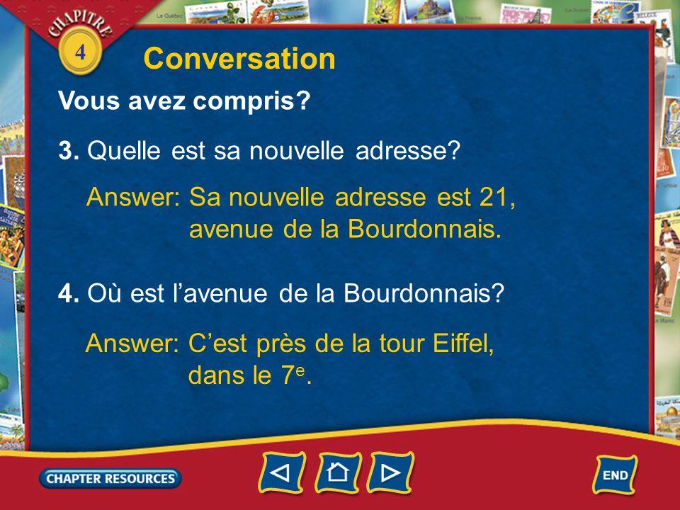 4 1. Vincent parle à qui? Answer: Vincent parle à son amie Charlotte. 2. Charlotte a la nouvelle adresse de Vincent? Answer: Non, elle na pas la nouve