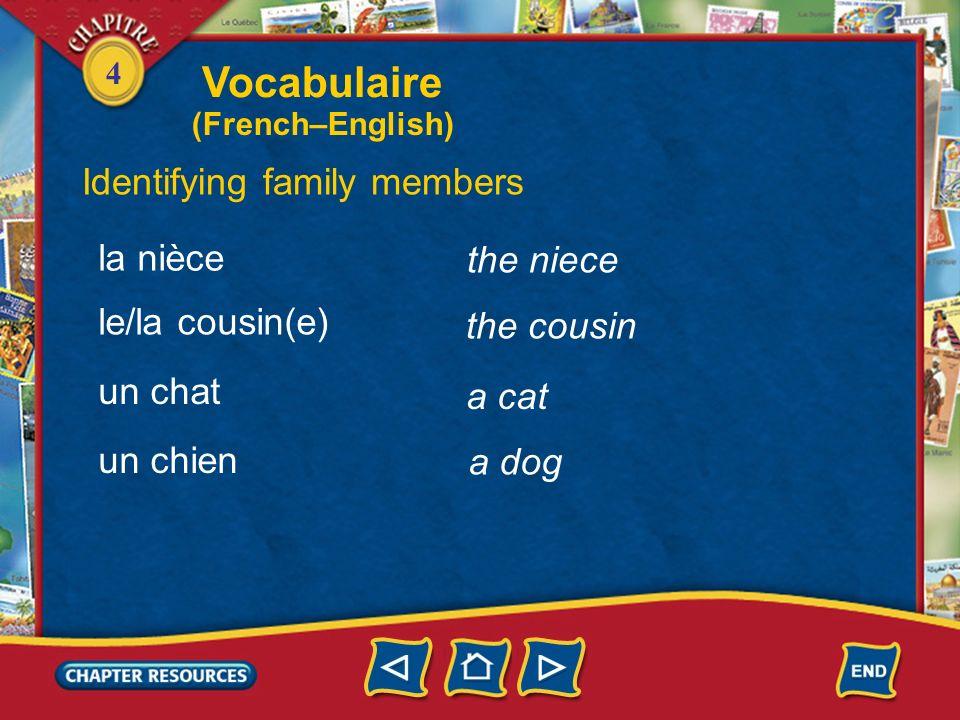 4 the grandson Identifying family members le petit-fils la petite-fille loncle la tante the granddaughter the uncle the aunt le neveu the nephew Vocab
