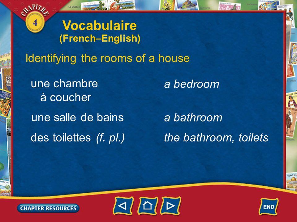 4 Identifying the rooms of a house a room une pièce une cuisine une salle de séjour une salle à manger a living room a kitchen a dining room Vocabulai