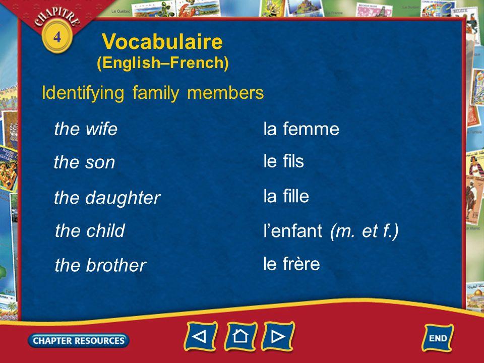 4 the family Vocabulaire Identifying family members la famille les parents (m. pl.) le père la mère the parents the father the mother le mari the husb