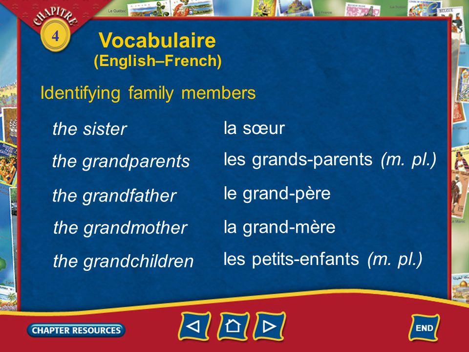 4 the wife Identifying family members la femme le fils la fille lenfant (m. et f.) the son the daughter the child le frère the brother Vocabulaire (En