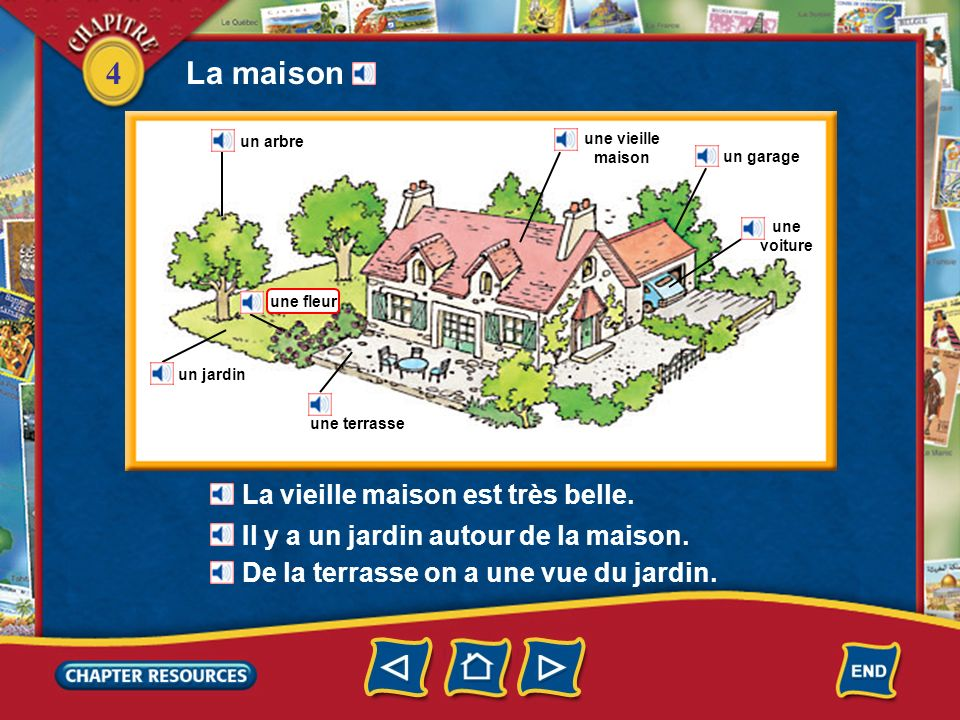 4 La maison un arbre un jardin une terrasse une vieille maison un garage une voiture De la terrasse on a une vue du jardin.