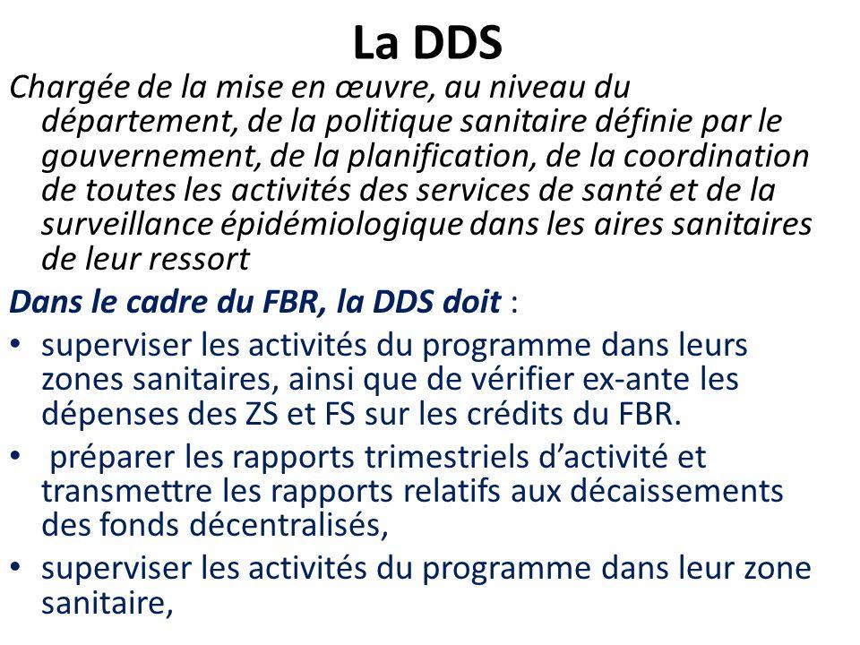 La DDS Chargée de la mise en œuvre, au niveau du département, de la politique sanitaire définie par le gouvernement, de la planification, de la coordi