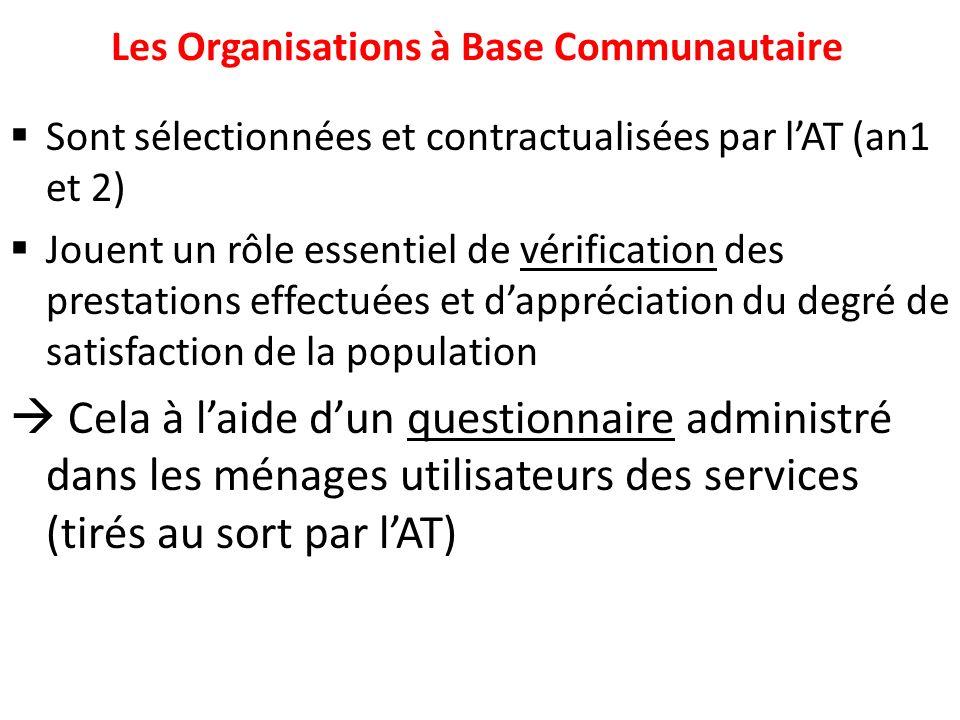 Les Organisations à Base Communautaire Sont sélectionnées et contractualisées par lAT (an1 et 2) Jouent un rôle essentiel de vérification des prestati