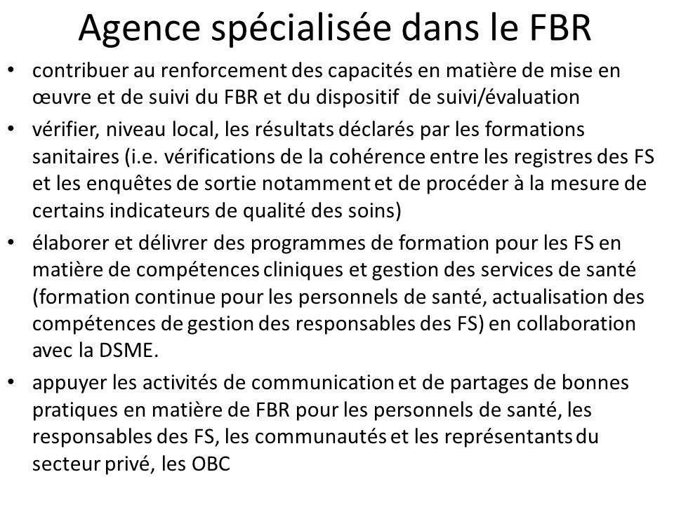 Agence spécialisée dans le FBR contribuer au renforcement des capacités en matière de mise en œuvre et de suivi du FBR et du dispositif de suivi/évalu