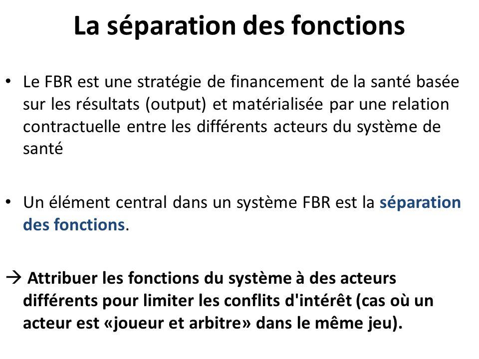 La séparation des fonctions Le FBR est une stratégie de financement de la santé basée sur les résultats (output) et matérialisée par une relation cont