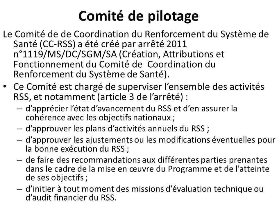 Comité de pilotage Le Comité de de Coordination du Renforcement du Système de Santé (CC-RSS) a été créé par arrêté 2011 n°1119/MS/DC/SGM/SA (Création,