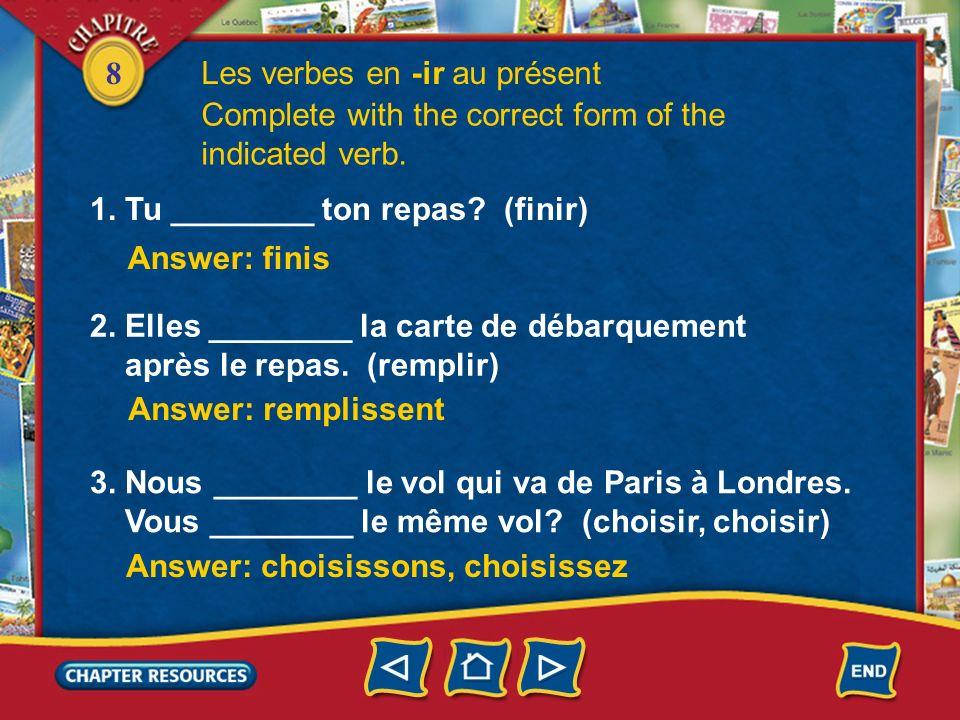 8 2. Other verbs that belong to this group are atterrir and remplir. Ils remplissent une carte de débarquement. Lavion atterrit à lheure. Les verbes e