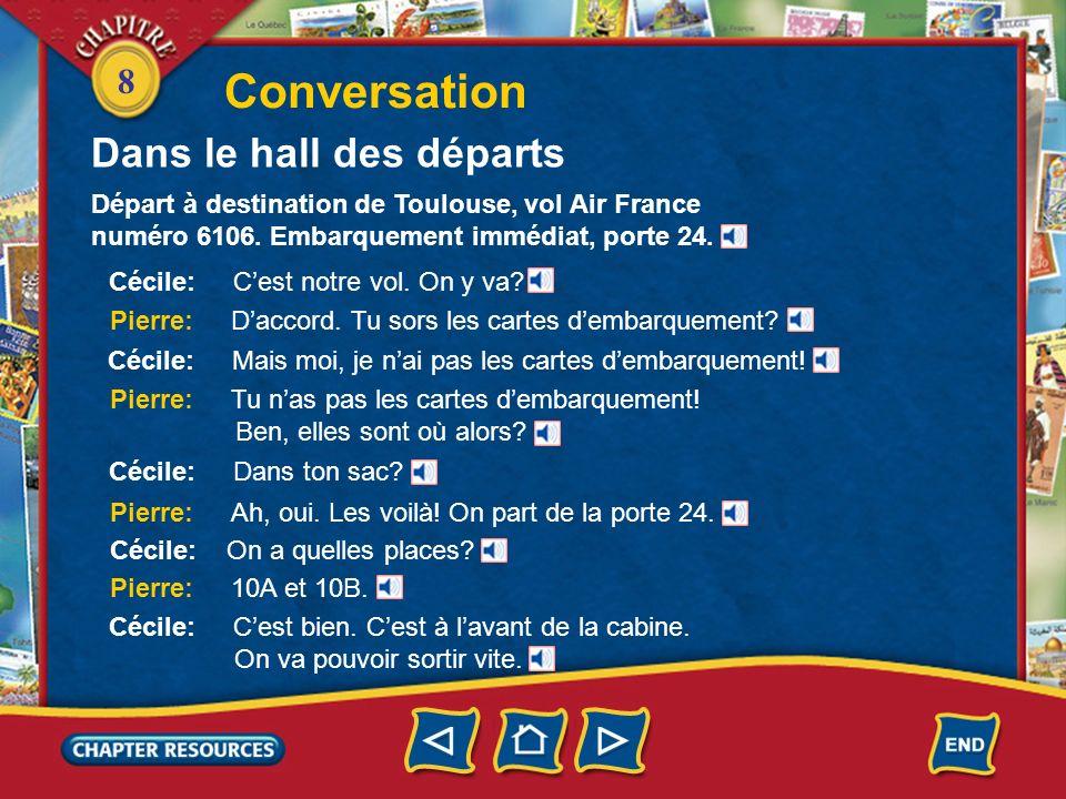 8 Conversation Départ à destination de Toulouse, vol Air France numéro 6106. Embarquement immédiat, porte 24. Cécile: Cest notre vol. On y va? Pierre: