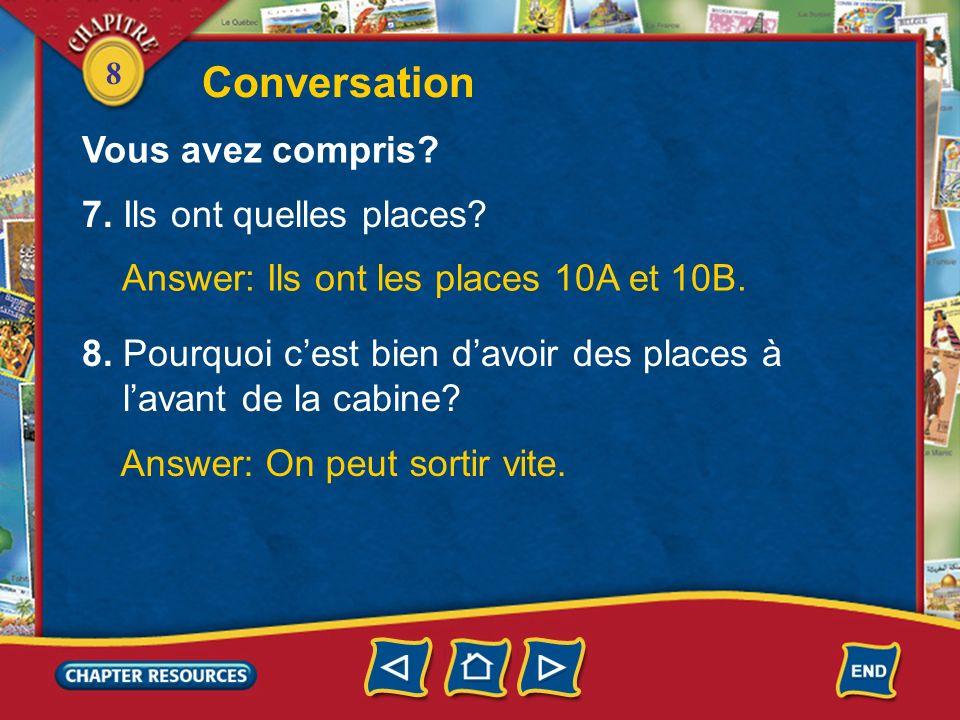 8 4. Ils vont où? Answer: Ils vont à Toulouse. 5. Ils partent de quelle porte? Answer: Ils partent de la porte 24. Conversation Vous avez compris? 6.