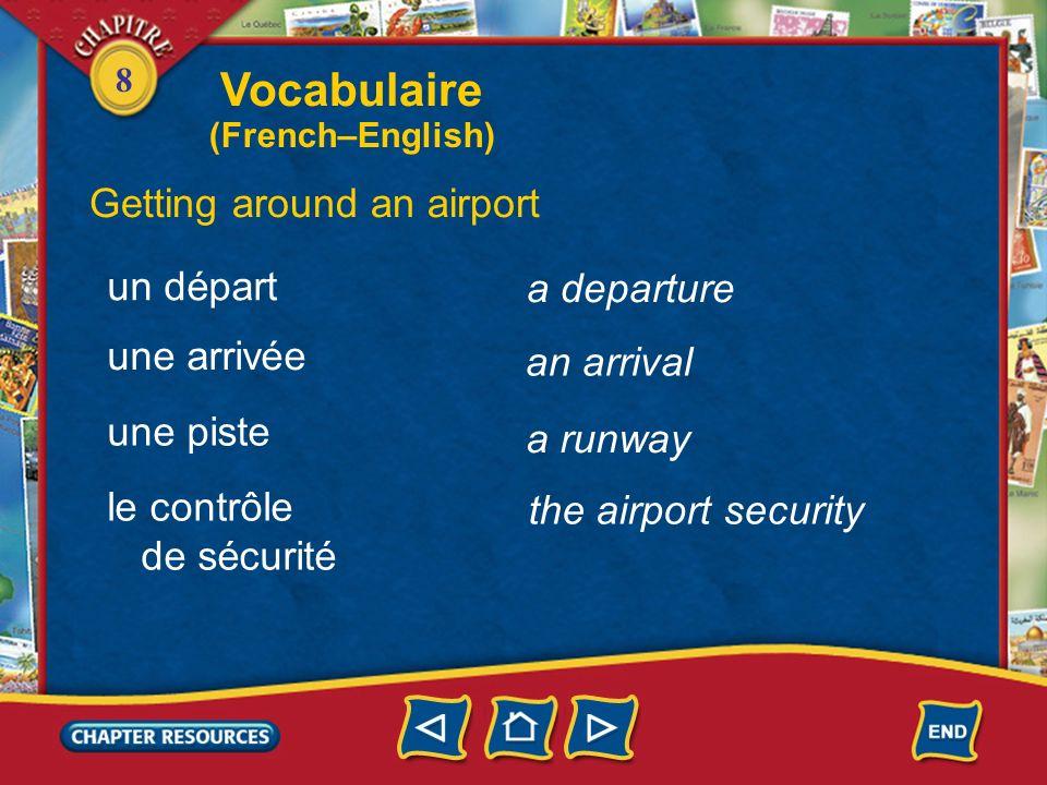 8 a boarding pass Getting around an airport une carte dembarquement une place côté couloir côté fenêtre a seat an aisle seat a window seat Vocabulaire