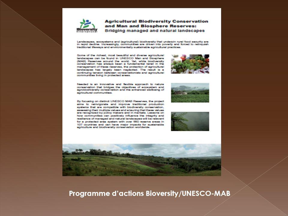 Programme dactions Bioversity/UNESCO-MAB