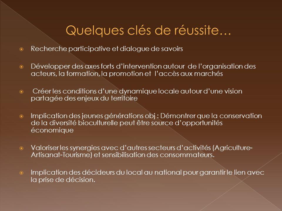 Recherche participative et dialogue de savoirs Développer des axes forts dintervention autour de lorganisation des acteurs, la formation, la promotion