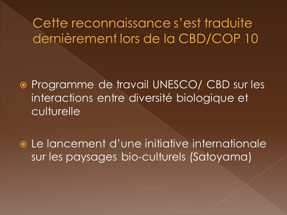 Programme de travail UNESCO/ CBD sur les interactions entre diversité biologique et culturelle Le lancement dune initiative internationale sur les pay