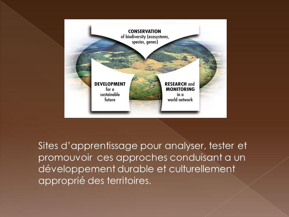 Sites dapprentissage pour analyser, tester et promouvoir ces approches conduisant a un développement durable et culturellement approprié des territoir
