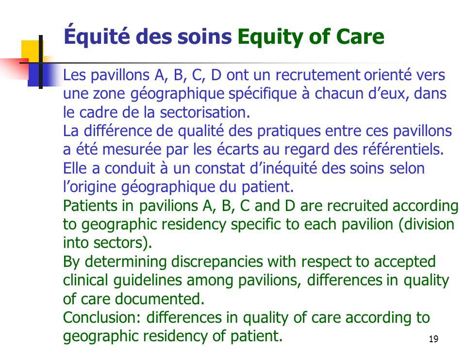 19 Équité des soins Equity of Care Les pavillons A, B, C, D ont un recrutement orienté vers une zone géographique spécifique à chacun deux, dans le cadre de la sectorisation.