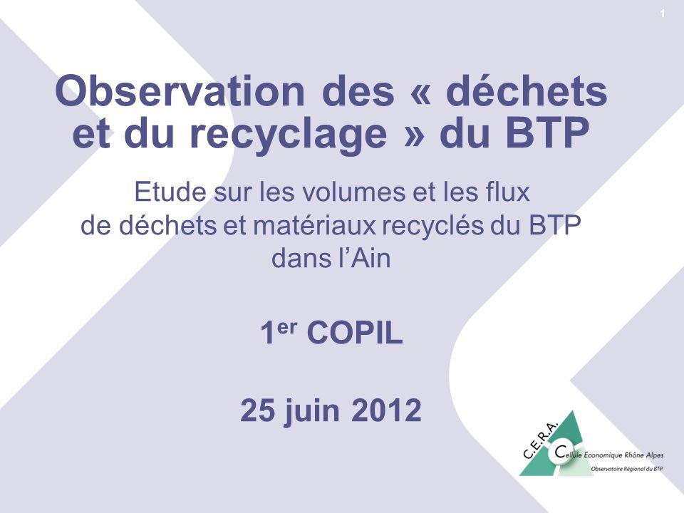 25 juin 2012© Cellule Economique Rhône-Alpes 1 er COPIL « déchets et recyclage » du BTP Ain Observation des « déchets et du recyclage » du BTP Etude s
