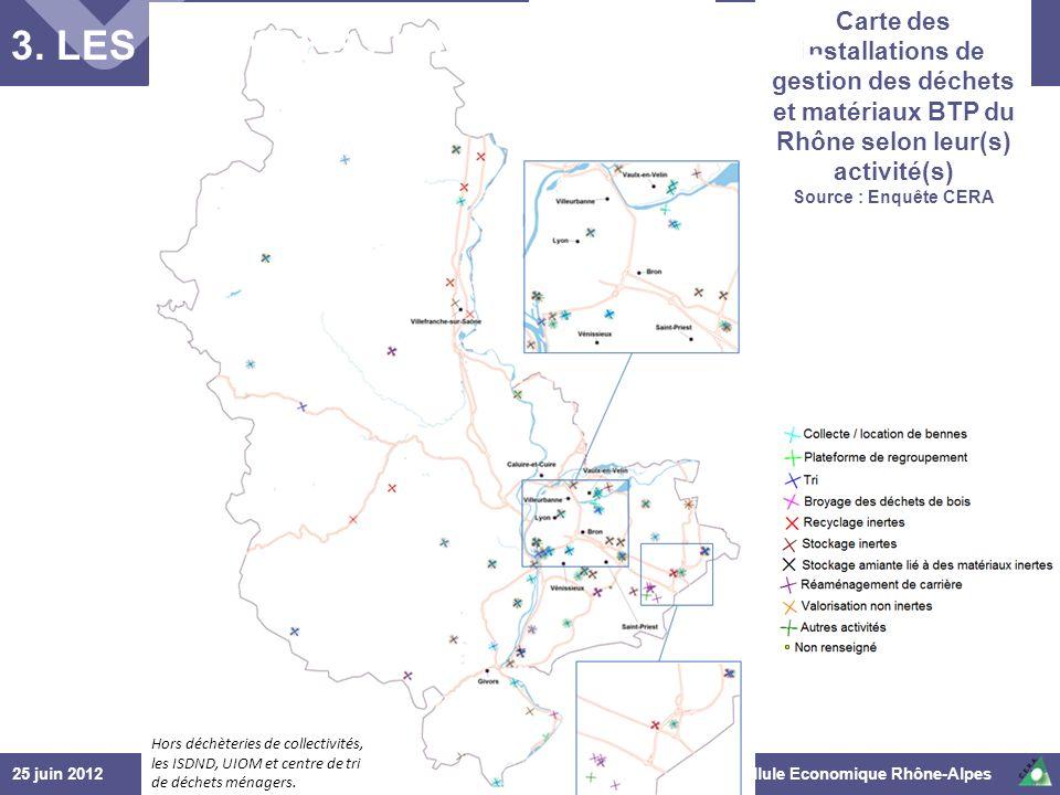 25 juin 2012© Cellule Economique Rhône-Alpes 1 er COPIL « déchets et recyclage » du BTP Ain Hors déchèteries de collectivités, les ISDND, UIOM et cent