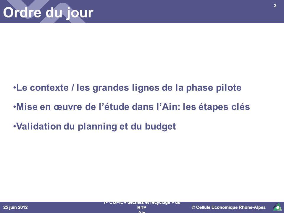 © Cellule Economique Rhône-Alpes 1 er COPIL « déchets et recyclage » du BTP Ain Ordre du jour Le contexte / les grandes lignes de la phase pilote Mise