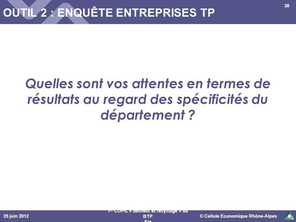 25 juin 2012© Cellule Economique Rhône-Alpes 1 er COPIL « déchets et recyclage » du BTP Ain 38 OUTIL 2 : ENQUÊTE ENTREPRISES TP Quelles sont vos atten