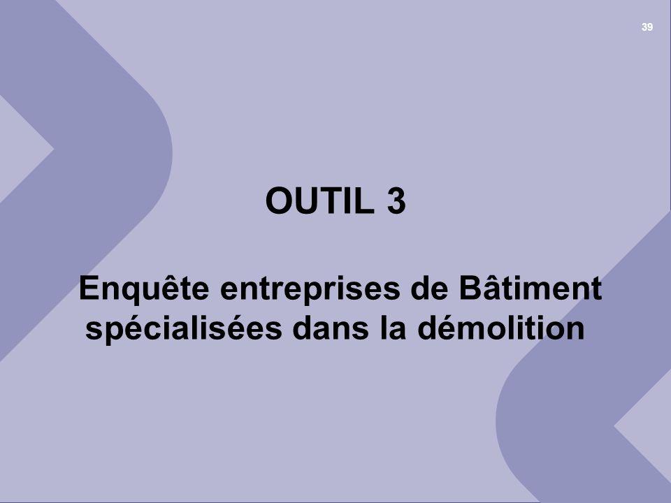 25 juin 2012© Cellule Economique Rhône-Alpes 1 er COPIL « déchets et recyclage » du BTP Ain 39 OUTIL 3 Enquête entreprises de Bâtiment spécialisées da