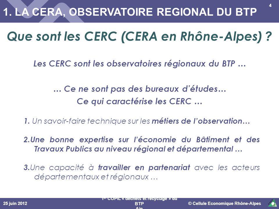 25 juin 2012© Cellule Economique Rhône-Alpes 1 er COPIL « déchets et recyclage » du BTP Ain 4 1. LA CERA, OBSERVATOIRE REGIONAL DU BTP 1. Un savoir-fa