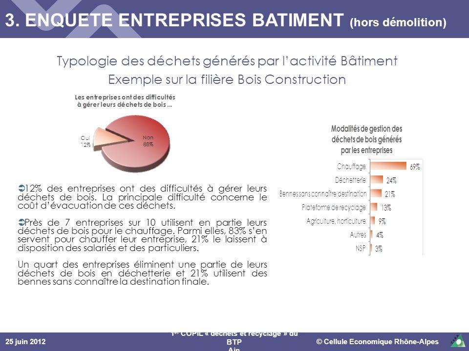 25 juin 2012© Cellule Economique Rhône-Alpes 1 er COPIL « déchets et recyclage » du BTP Ain Typologie des déchets générés par lactivité Bâtiment Exemp