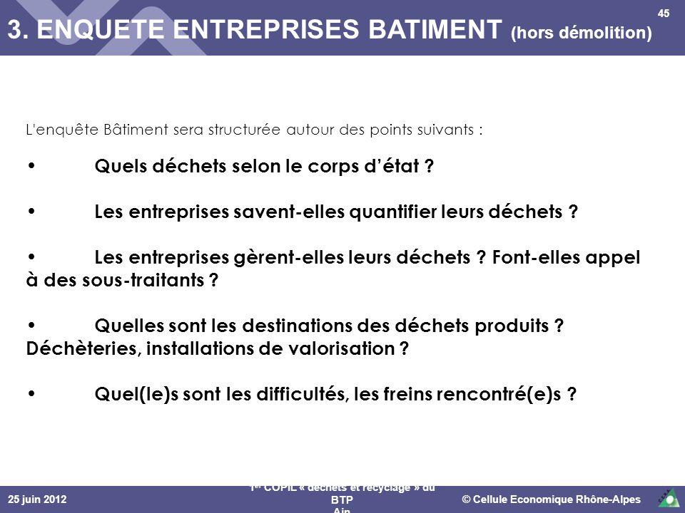25 juin 2012© Cellule Economique Rhône-Alpes 1 er COPIL « déchets et recyclage » du BTP Ain 3. ENQUETE ENTREPRISES BATIMENT (hors démolition) 45 L'enq