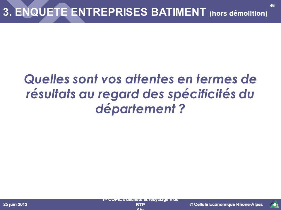 25 juin 2012© Cellule Economique Rhône-Alpes 1 er COPIL « déchets et recyclage » du BTP Ain 3. ENQUETE ENTREPRISES BATIMENT (hors démolition) 46 Quell