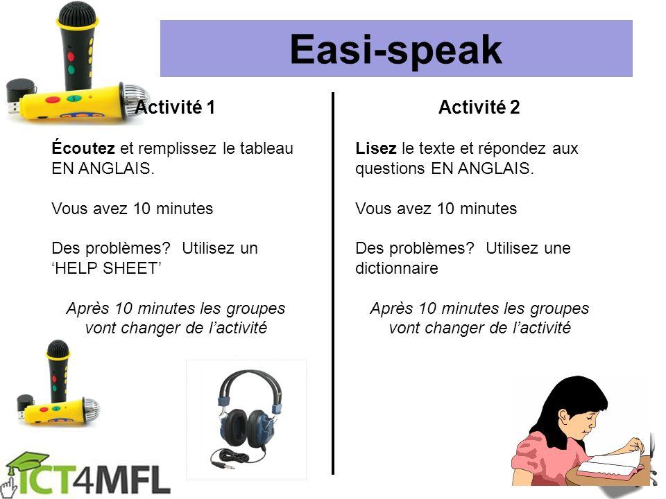 Easi-speak Activité 1 Écoutez et remplissez le tableau EN ANGLAIS. Vous avez 10 minutes Des problèmes? Utilisez un HELP SHEET Après 10 minutes les gro