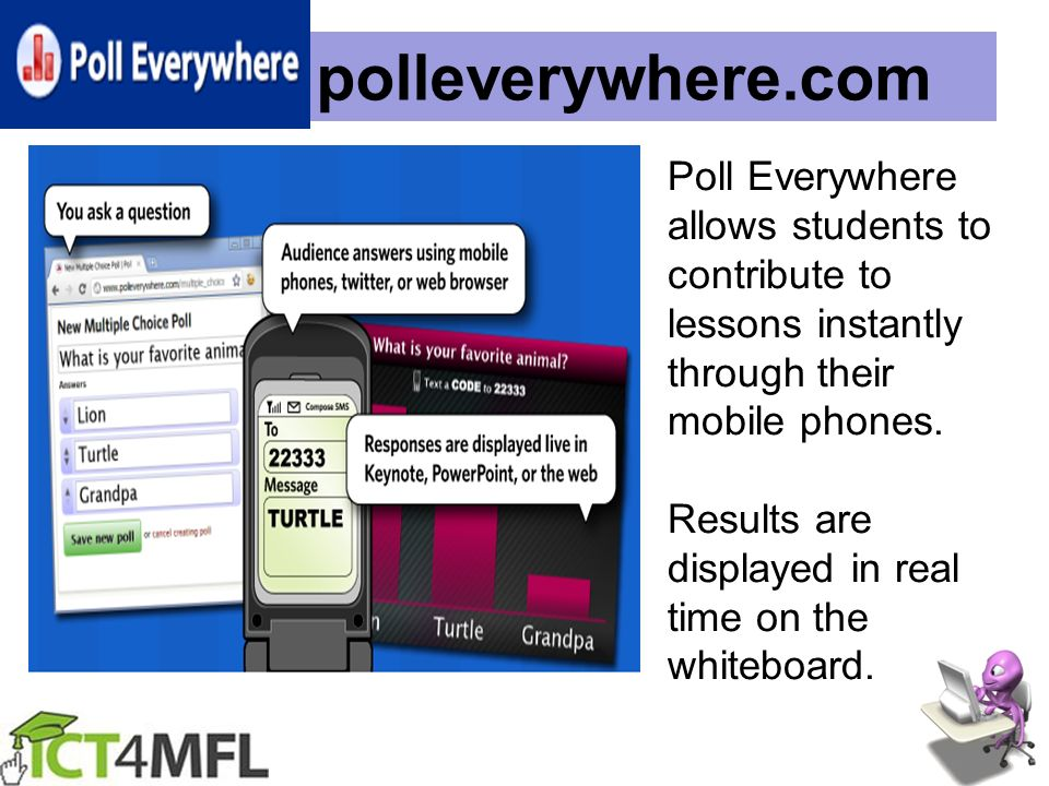 polleverywhere.com Poll Everywhere allows students to contribute to lessons instantly through their mobile phones. Results are displayed in real time