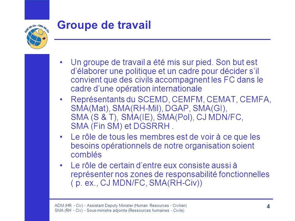 ADM (HR - Civ) - Assistant Deputy Minister (Human Resources - Civilian) SMA (RH - Civ) - Sous-ministre adjointe (Ressources humaines - Civils) 4 Groupe de travail Un groupe de travail a été mis sur pied.