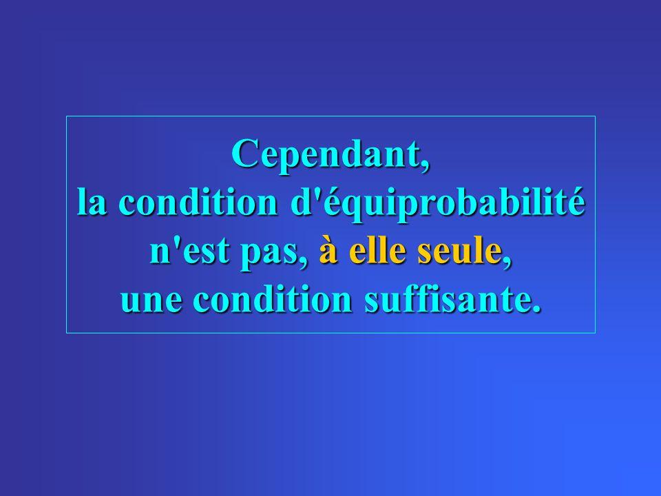 Cependant, la condition d'équiprobabilité n'est pas, à elle seule, une condition suffisante.