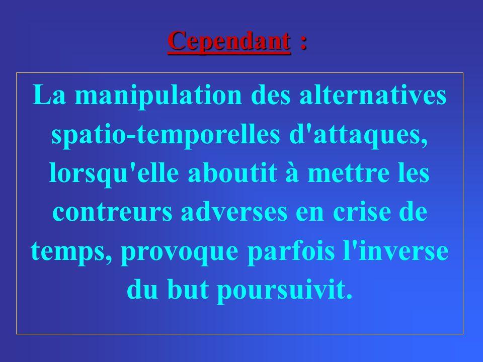 La manipulation des alternatives spatio-temporelles d attaques, lorsqu elle aboutit à mettre les contreurs adverses en crise de temps, provoque parfois l inverse du but poursuivit.