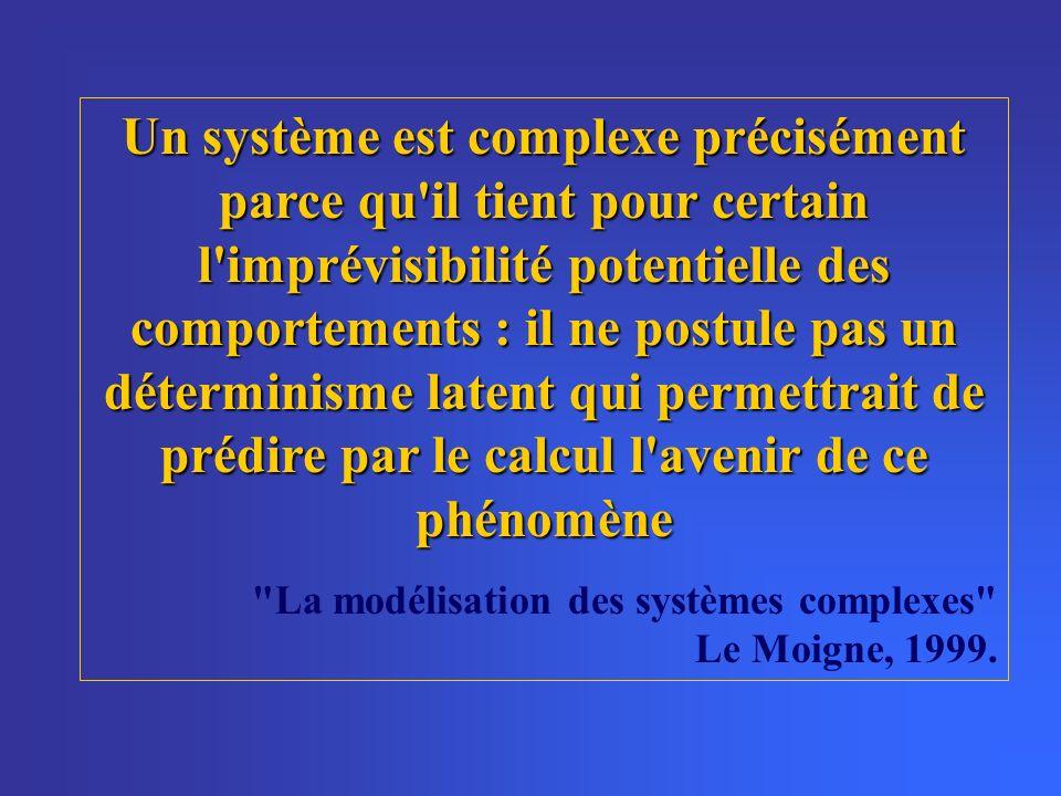Un système est complexe précisément parce qu il tient pour certain l imprévisibilité potentielle des comportements : il ne postule pas un déterminisme latent qui permettrait de prédire par le calcul l avenir de ce phénomène La modélisation des systèmes complexes Le Moigne, 1999.