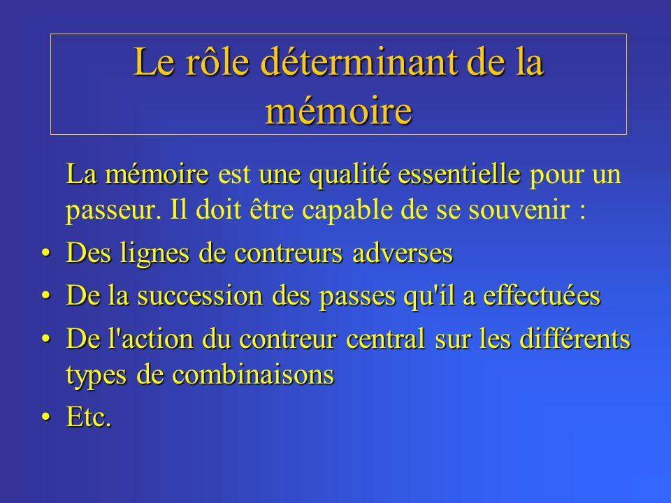 Le rôle déterminant de la mémoire La mémoireune qualité essentielle La mémoire est une qualité essentielle pour un passeur. Il doit être capable de se