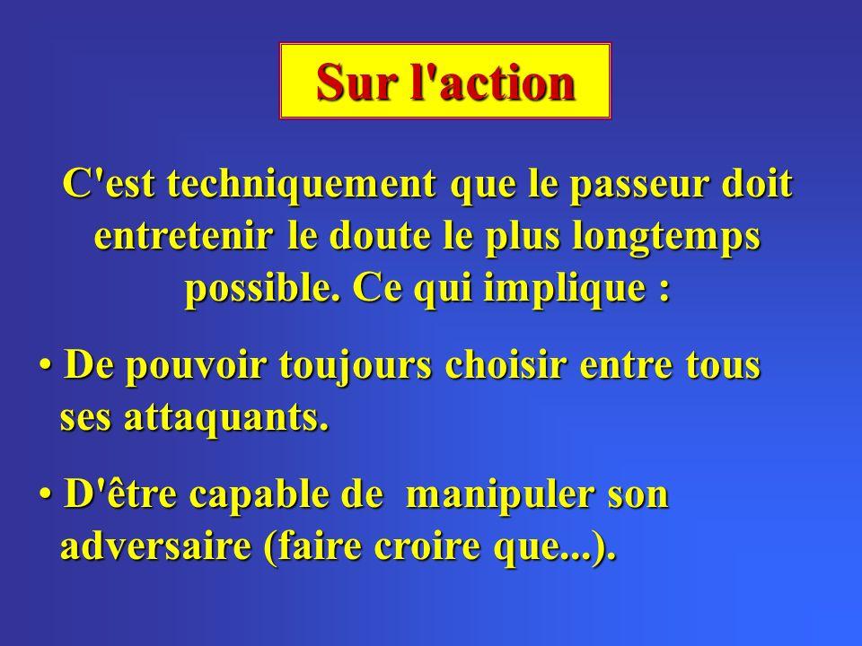 Sur l action C est techniquement que le passeur doit entretenir le doute le plus longtemps possible.