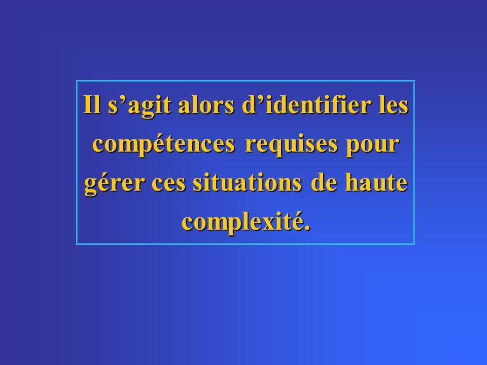Il sagit alors didentifier les compétences requises pour gérer ces situations de haute complexité.