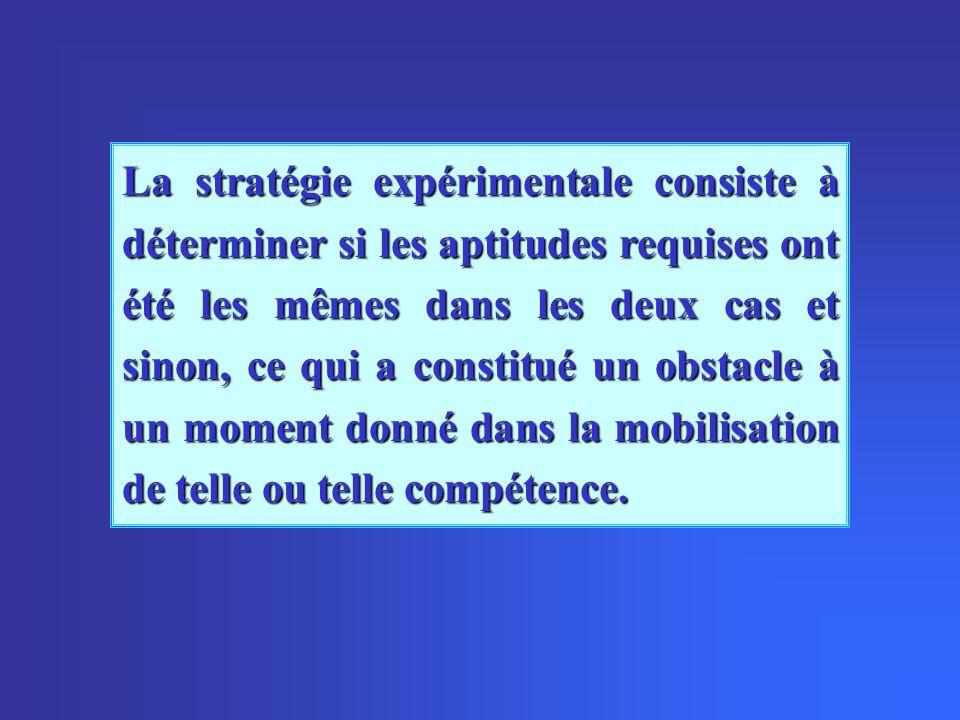 La stratégie expérimentale consiste à déterminer si les aptitudes requises ont été les mêmes dans les deux cas et sinon, ce qui a constitué un obstacl