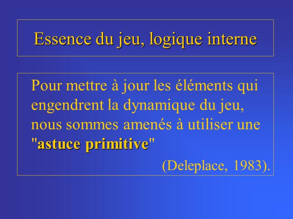 Essence du jeu, logique interne astuce primitive Pour mettre à jour les éléments qui engendrent la dynamique du jeu, nous sommes amenés à utiliser une astuce primitive (Deleplace, 1983).
