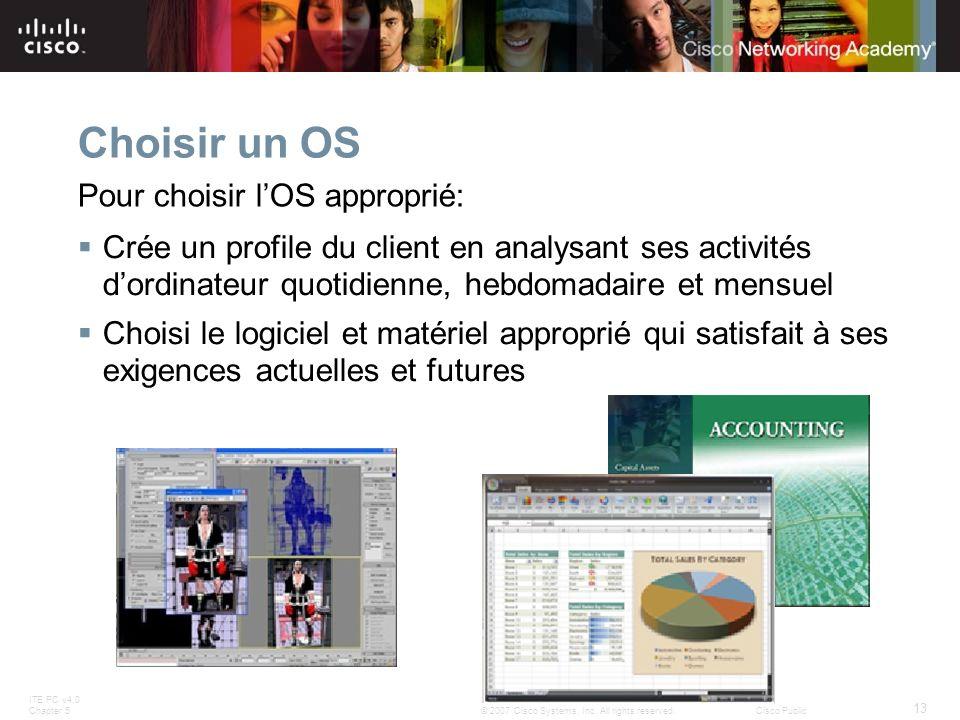 ITE PC v4.0 Chapter 5 13 © 2007 Cisco Systems, Inc. All rights reserved.Cisco Public Choisir un OS Crée un profile du client en analysant ses activité