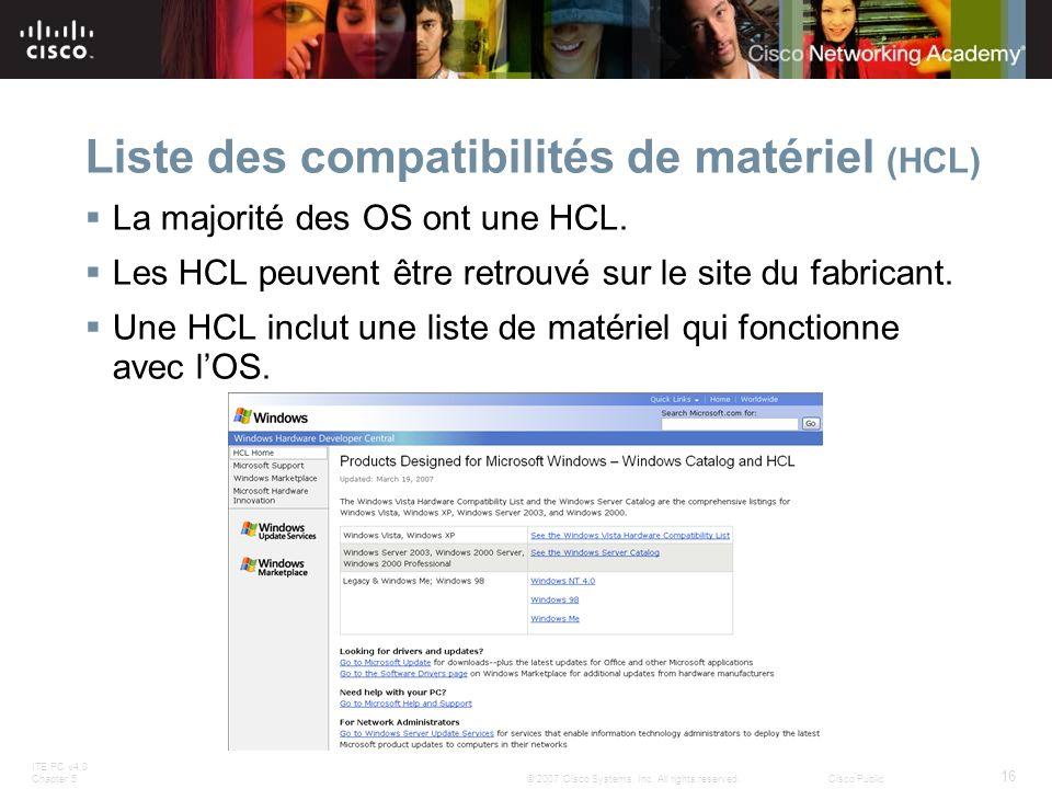 ITE PC v4.0 Chapter 5 16 © 2007 Cisco Systems, Inc. All rights reserved.Cisco Public Liste des compatibilités de matériel (HCL) La majorité des OS ont