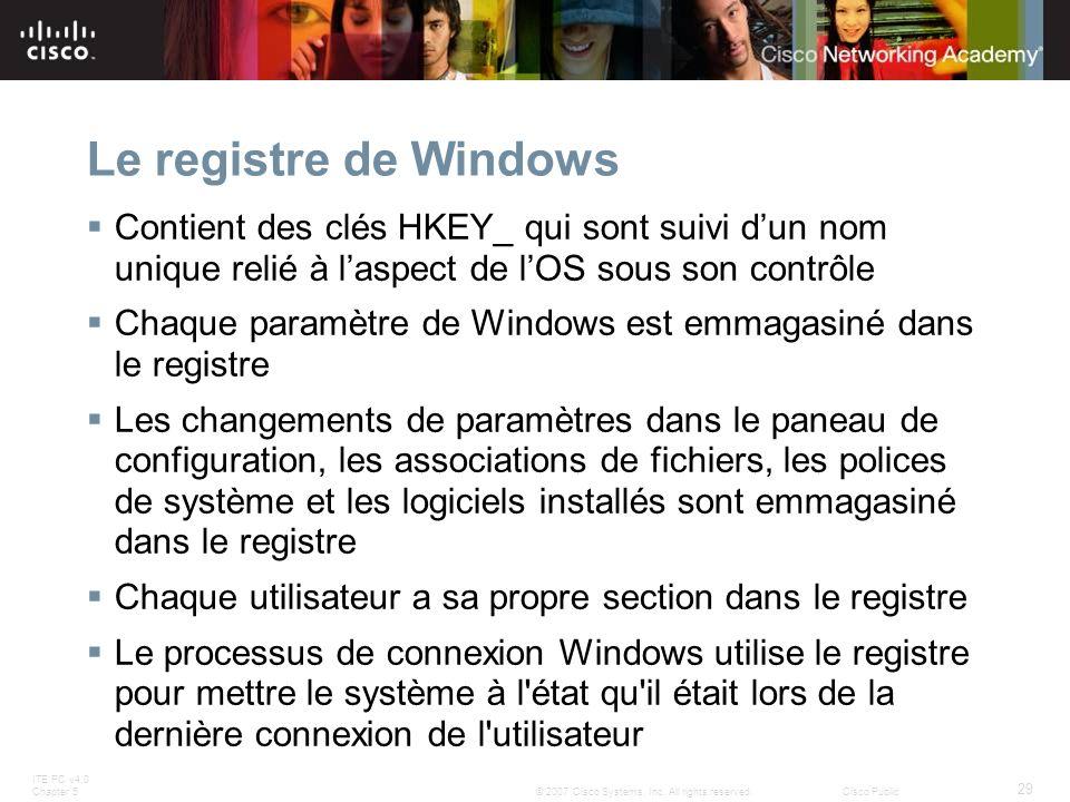 ITE PC v4.0 Chapter 5 29 © 2007 Cisco Systems, Inc. All rights reserved.Cisco Public Le registre de Windows Contient des clés HKEY_ qui sont suivi dun