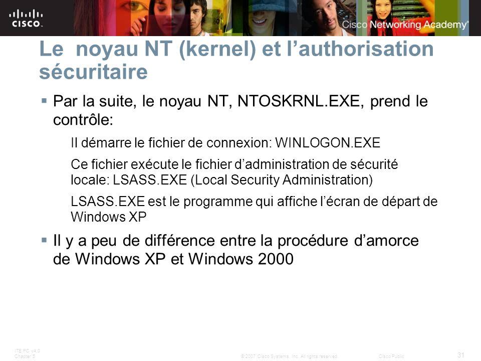 ITE PC v4.0 Chapter 5 31 © 2007 Cisco Systems, Inc. All rights reserved.Cisco Public Le noyau NT (kernel) et lauthorisation sécuritaire Par la suite,