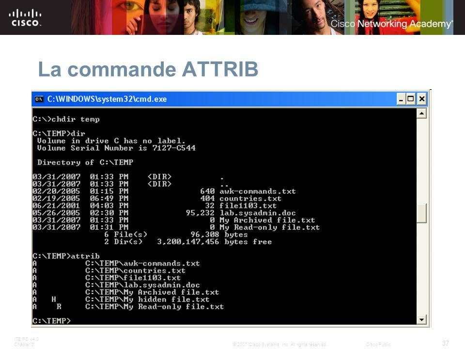 ITE PC v4.0 Chapter 5 37 © 2007 Cisco Systems, Inc. All rights reserved.Cisco Public La commande ATTRIB
