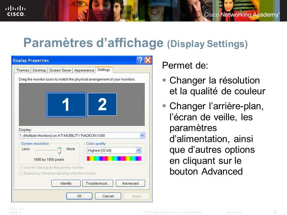 ITE PC v4.0 Chapter 5 45 © 2007 Cisco Systems, Inc. All rights reserved.Cisco Public Paramètres daffichage (Display Settings) Permet de: Changer la ré
