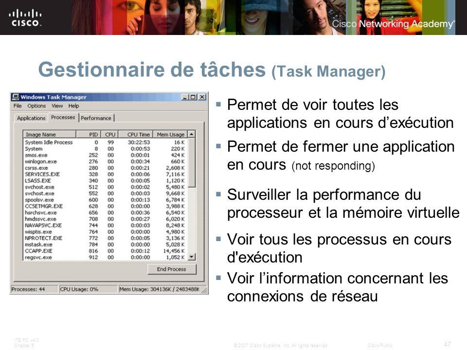 ITE PC v4.0 Chapter 5 47 © 2007 Cisco Systems, Inc. All rights reserved.Cisco Public Gestionnaire de tâches (Task Manager) Permet de voir toutes les a
