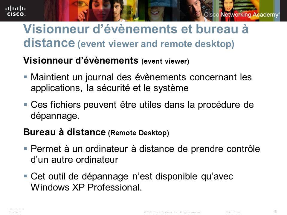 ITE PC v4.0 Chapter 5 48 © 2007 Cisco Systems, Inc. All rights reserved.Cisco Public Visionneur dévènements et bureau à distance (event viewer and rem